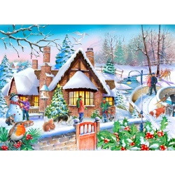 Snowy cottage, Hop Puzzels 250st XL stukken