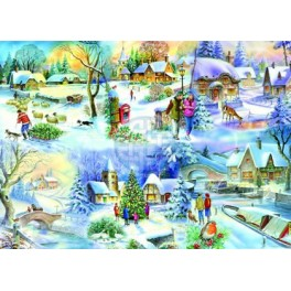"House of Puzzels  500stukjes BIG  ""Snowy Afternoon""  The Brampton Collection"