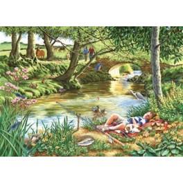 """House of Puzzles. 500stukjes Large    Gone Fishing"""" The Grange Collection """"  68*48cm"""