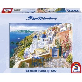 Schmidt puzzel  Sam Park serie  Blik op Santorini  afm: 70*50cm